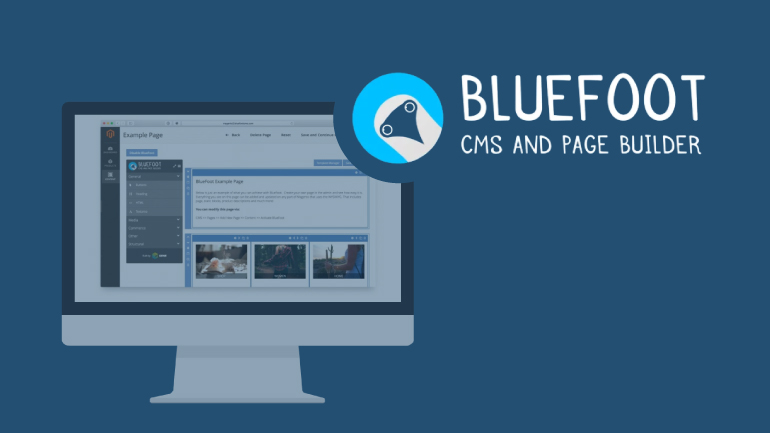 Picture of computer with Bluefoot logo and the phrase CMS AND PAGE BUILDER